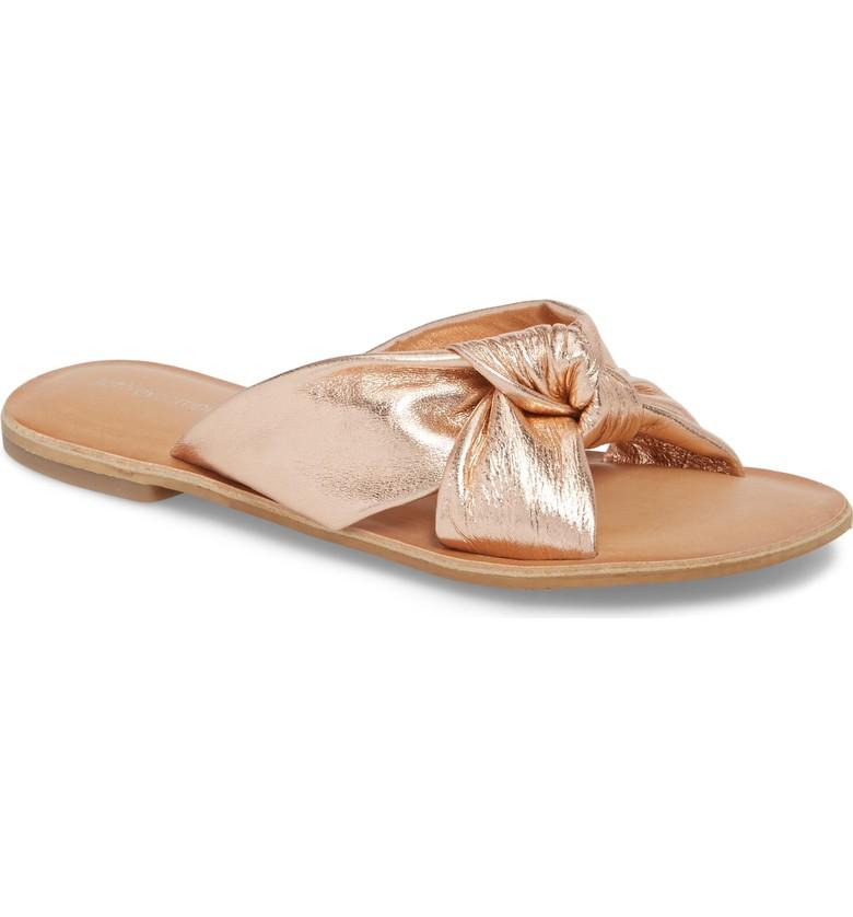 Embellished slide sandals for summer | Jeffrey Campbell rose gold slide