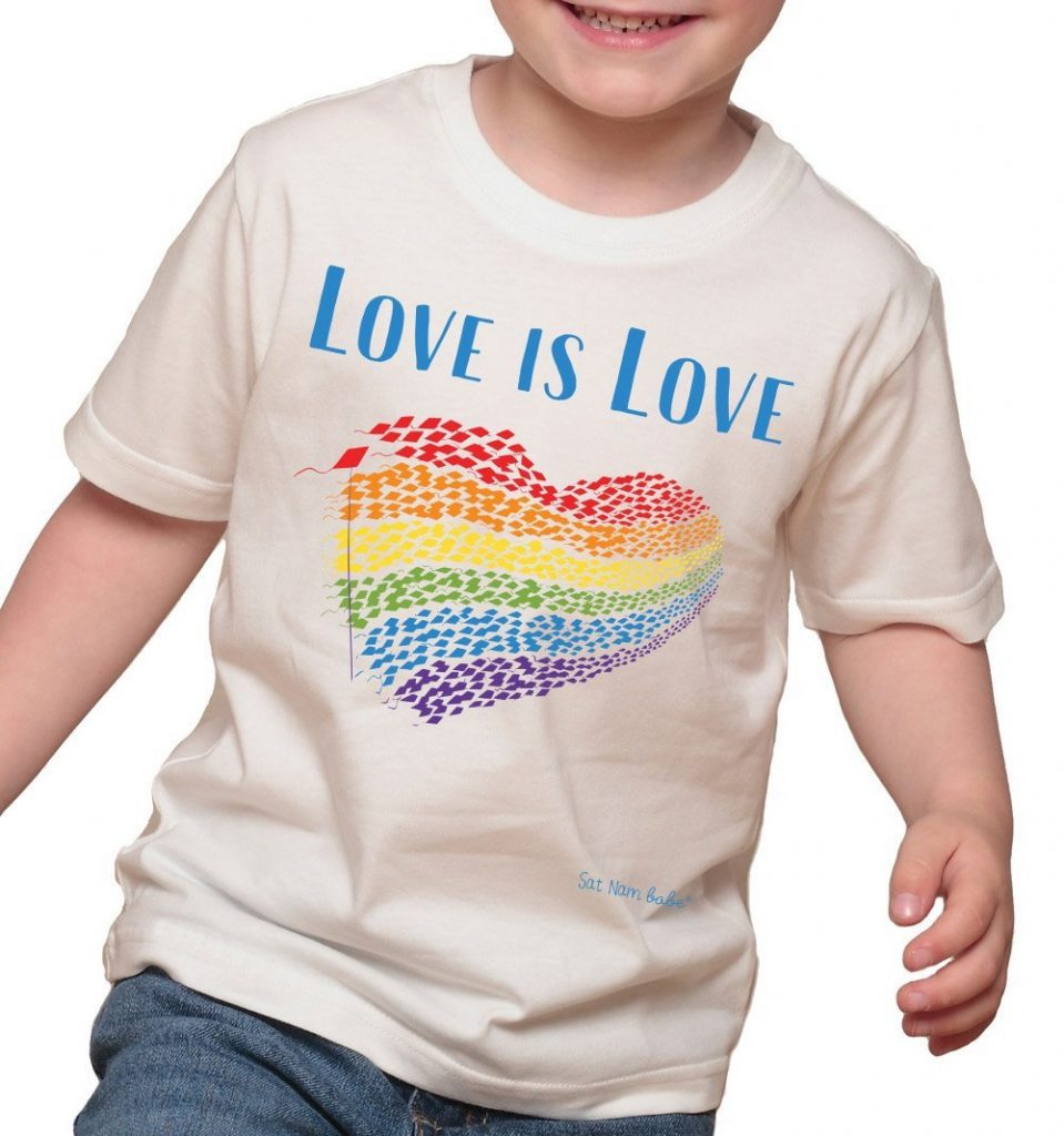 Love is Love child's tee featuring Ken Min's cover art illustration from Sat Nam Babe