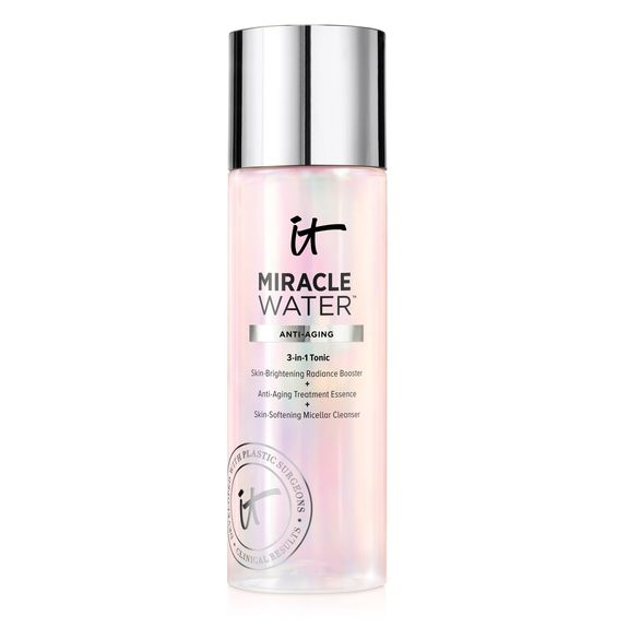 Miracle Water by IT Cosmetics is a 3-in-1 toner, cleanser, exfoliator. Beauty fans swear by it!