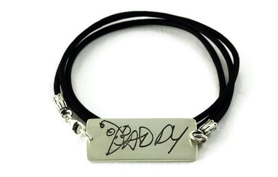 Best personalized Father's Day gifts: Custom Handwriting Bracelet by Metalmorphis