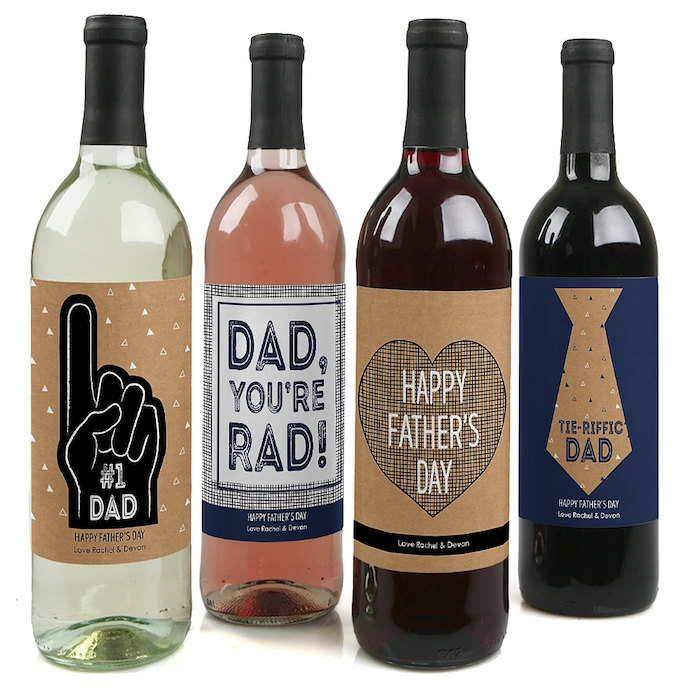 Best personalized Father's Day gifts: Custom Father's Day Wine Labels by Big Dot of Happiness