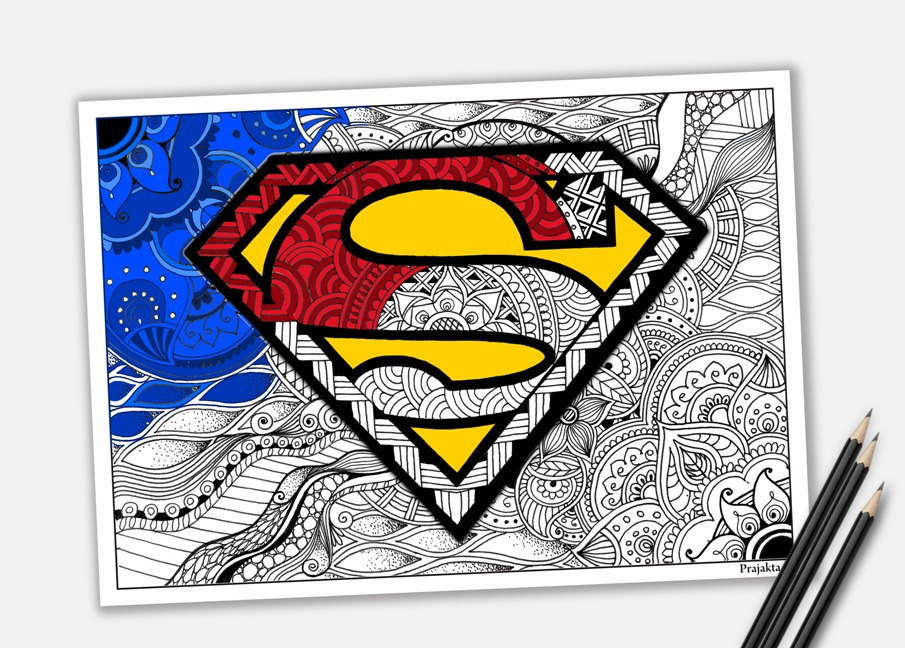 Framed Superman mandala coloring page from the kids | Printable for download | Father's Day gifts under $20