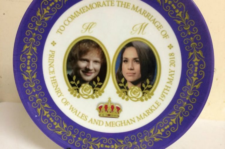 Honor the royal wedding of Ed Sheeran and Meghan Markle with this commemorative plate.