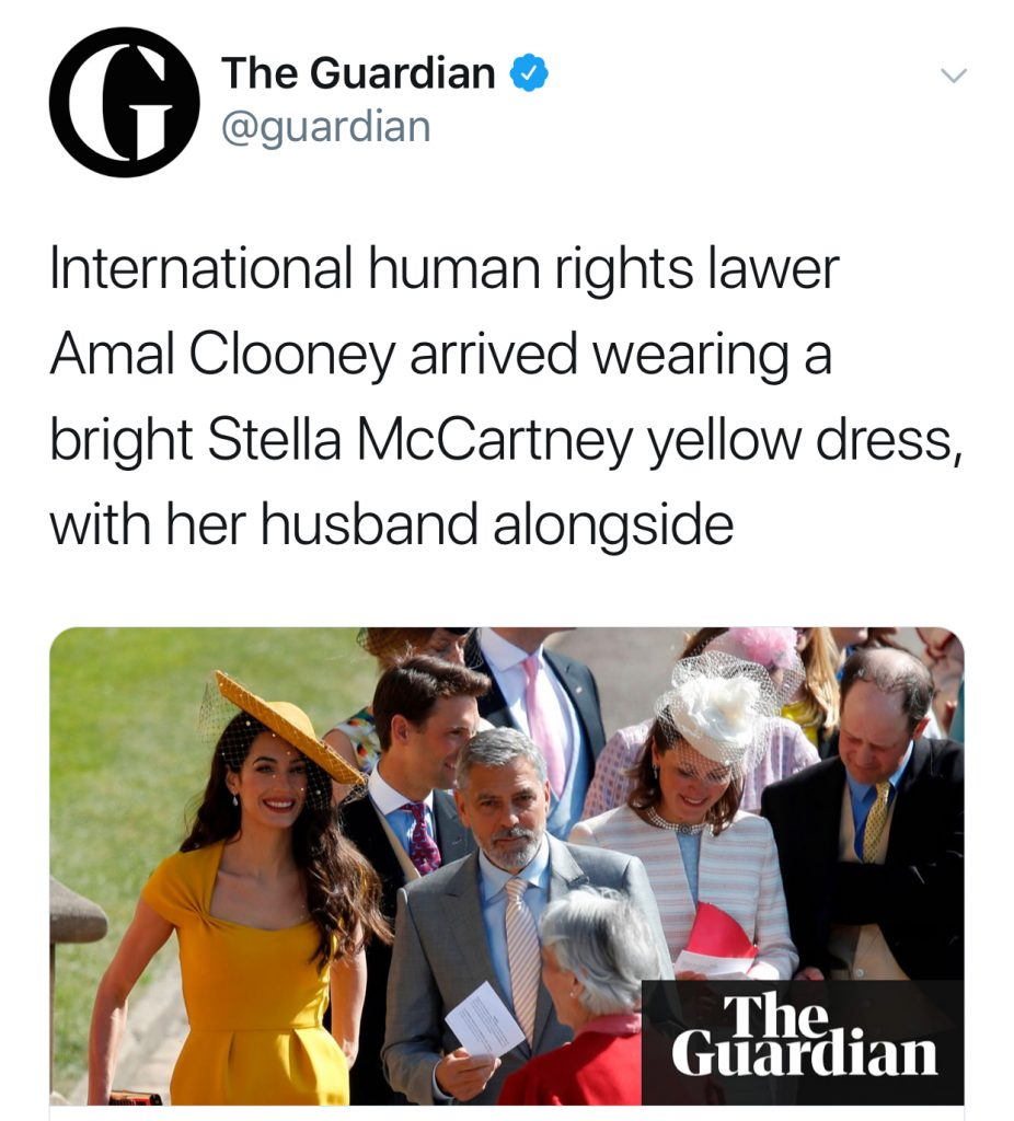 Best royal wedding tweets: Guardian on Amal Clooney. That's a headline!