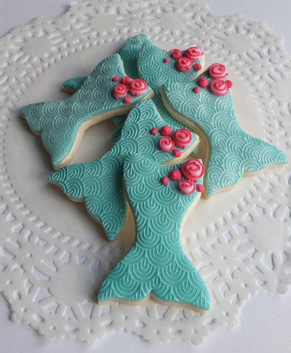 Mermaid gifts: Mermaid tail sugar cookies   PF Confections