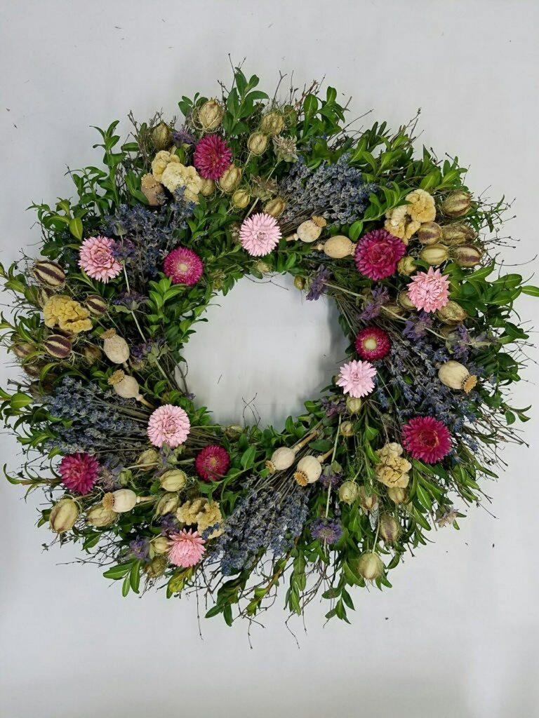 Flower alternatives for Mother's Day: A springy floral wreath from dried wildflowers and lavender