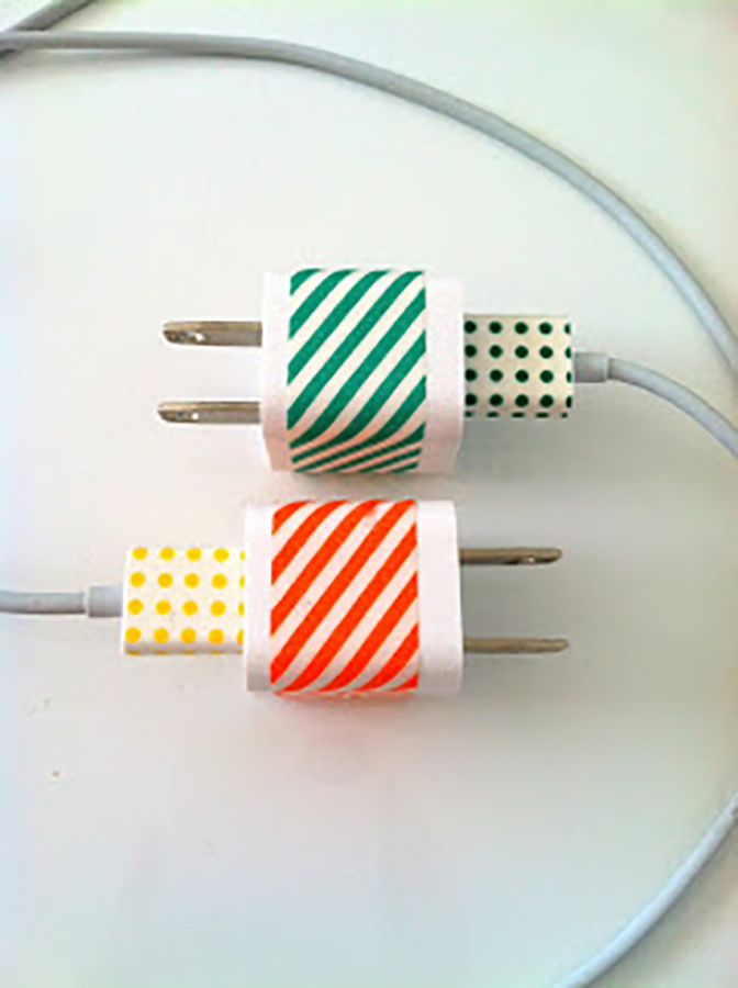 Summer DIY crafts for teens: Washi Tape Charging Cord from Delicious Spaces