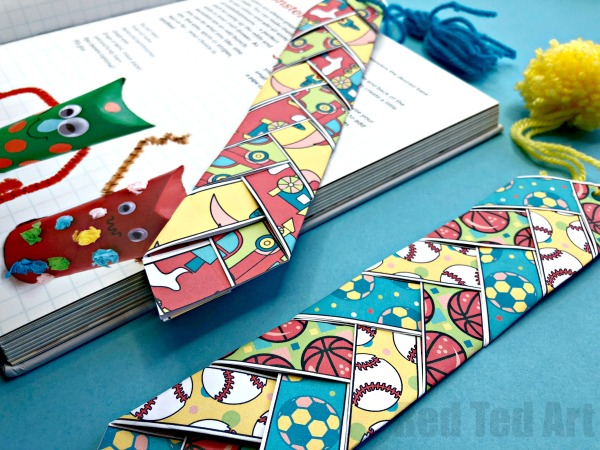 Free, fun Father's Day printables: Paper Weaving Father's Day Printable Bookmark by Red Ted Art