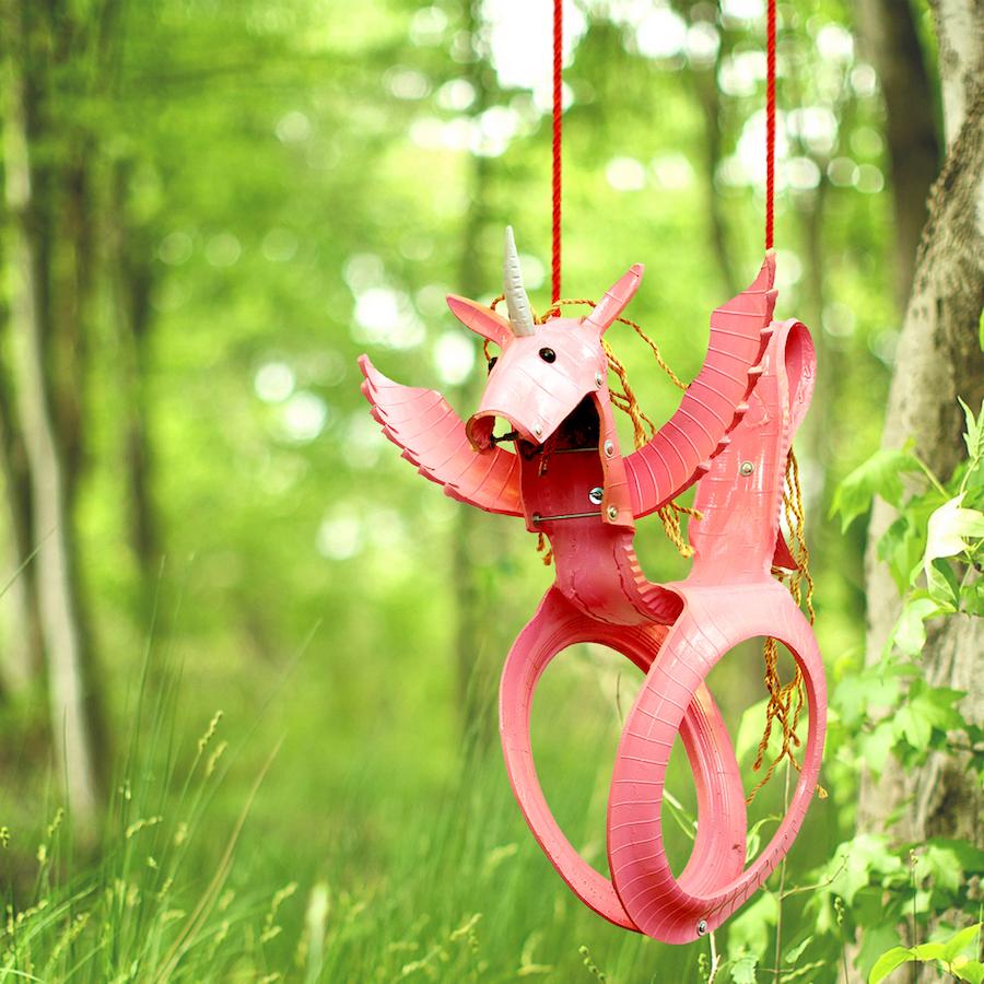 Cool backyard swings for kids: Recycled tire unicorn swing