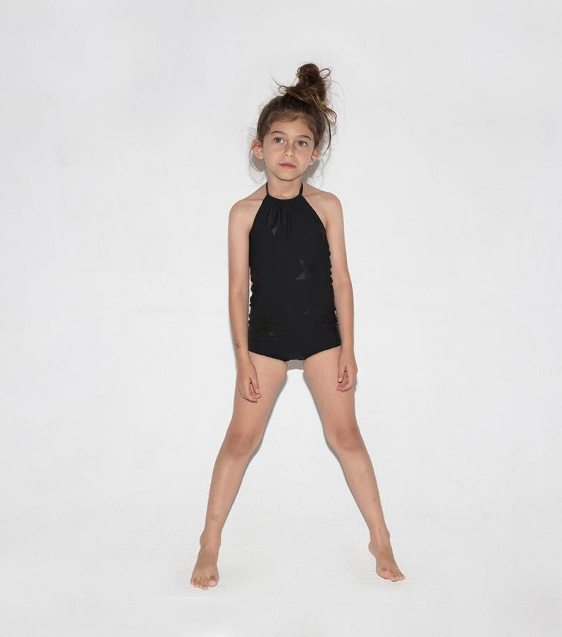 Black nununu swimsuit for girls: Black on black star patterned halter