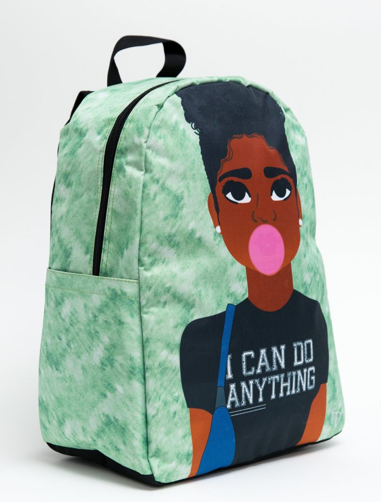 """I can do anything"" backpacks from Blended Designs featuring boys and girls of color"