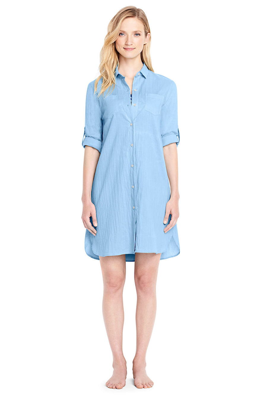 Cool pool coverups for moms: Boyfriend shirtdress at Lands' End