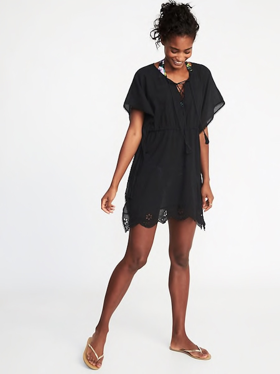 Cool pool coverups for moms: Embroidered gauze caftan at Old Navy