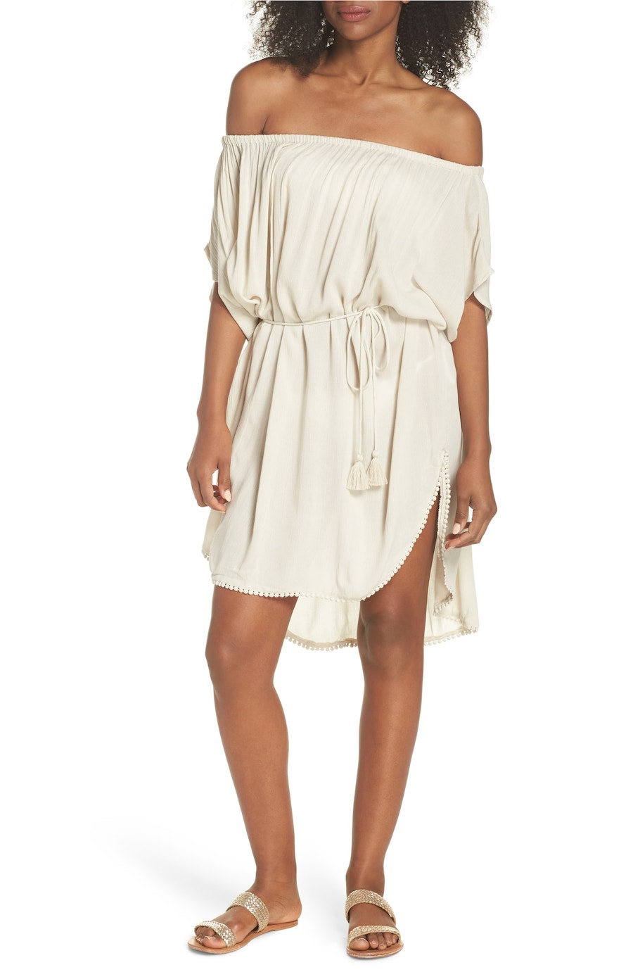 Cool pool coverups for moms: Seaside off-shoulder dress by Echo