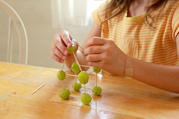 Screen-free activities for kids: Build edible grape structures at Artful Parent