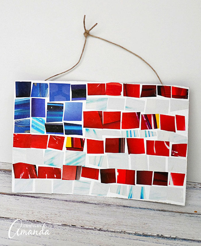 Easy 4th of July crafts for kids: Magazine mosaic flag at Crafts by Amanda