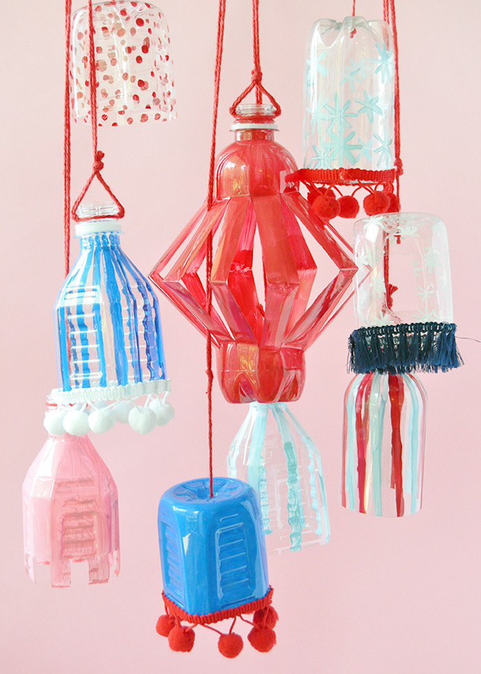 Easy 4th of July crafts for kids: Plastic bottle lanterns at Handmade Charlotte