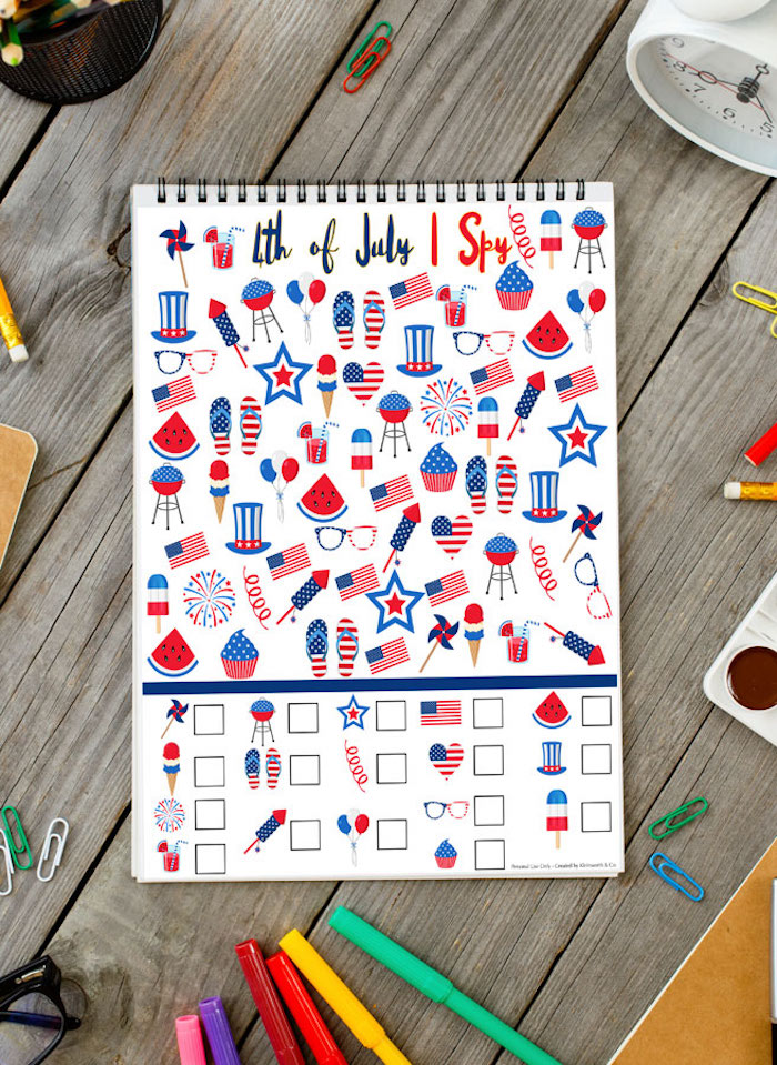 Easy 4th of July crafts for kids: Printable I Spy game at Kleinworth and Co