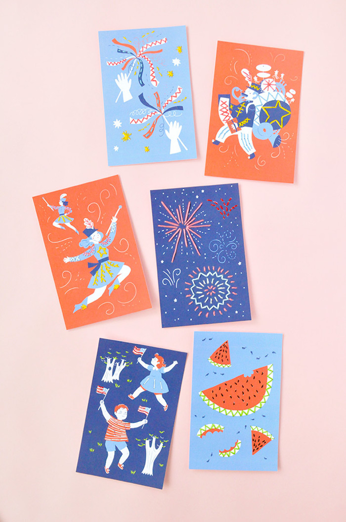Easy 4th of July crafts for kids: Printable sewing cards at Handmade Charlotte