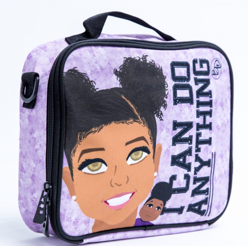 """I can do anything"" lunch boxes from Blended Designs that features kids of color with different skin tones"