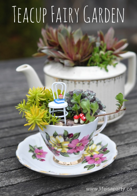 Teacup fairy garden DIY from Life Is a Party