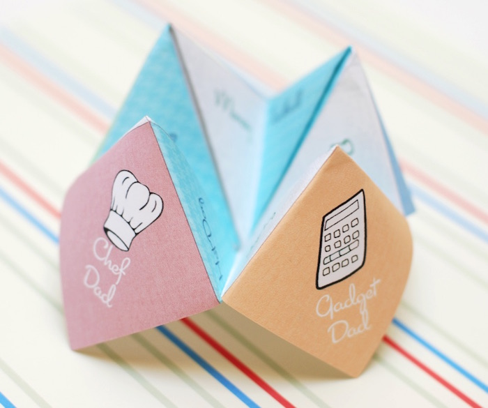 Free, fun Father's Day printables: Father's Day Cootie Catcher by B.Nute Productions