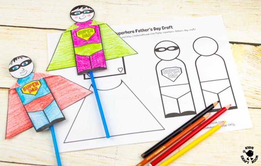 Free, fun Father's Day printables: Flying Superhero Printable by Kids Craft Room