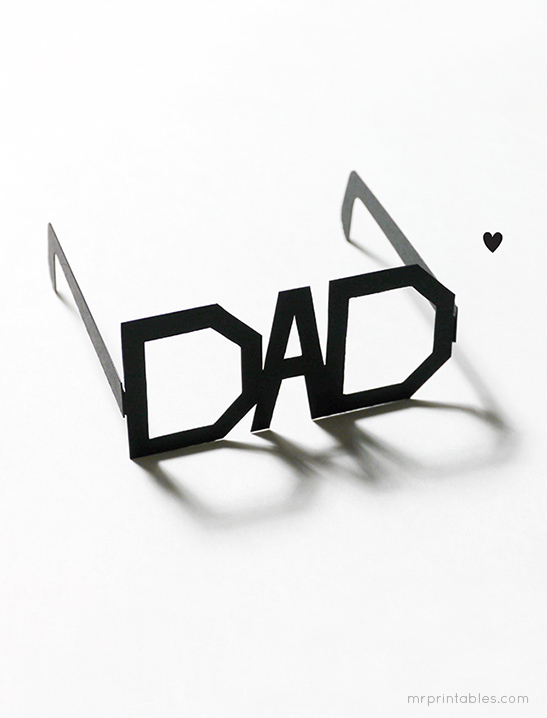 Free, fun Father's Day printables: Printable Typography Father's Day Glasses by Mr. Printables