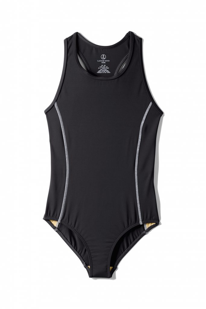 Girls racer style swimsuit tank in black from Lands End