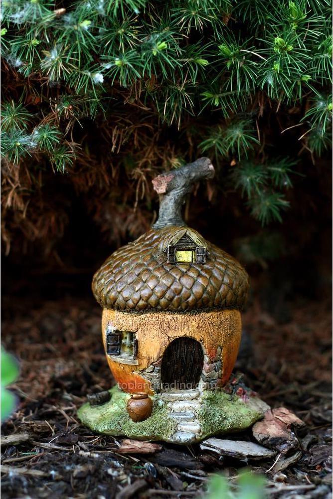 Mini acorn house for a fairy garden