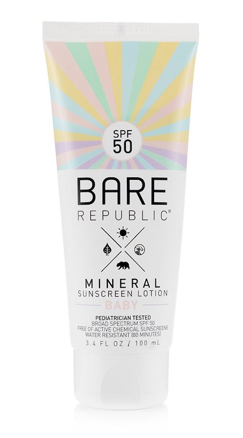 Most affordable safe sunscreens for kids 2018: Bare Republic Baby Mineral Sunscreen Lotion SPF 50
