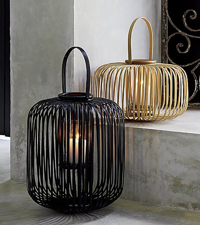 Cool backyard lighting Ideas:  Kini Rattan Lantern from CB2