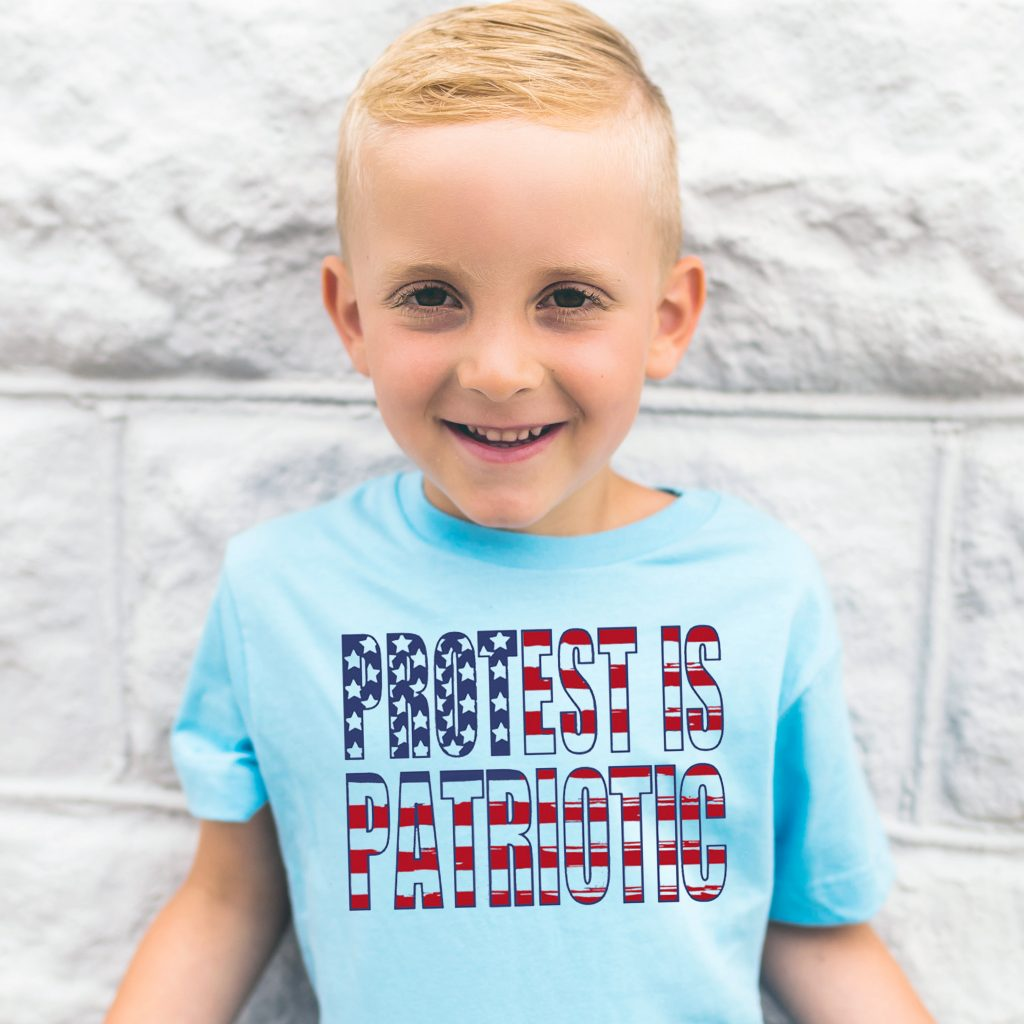 Progressive 4th of July tees for kids: Protest is patriotic 4th of July tee | Free to Be Kids
