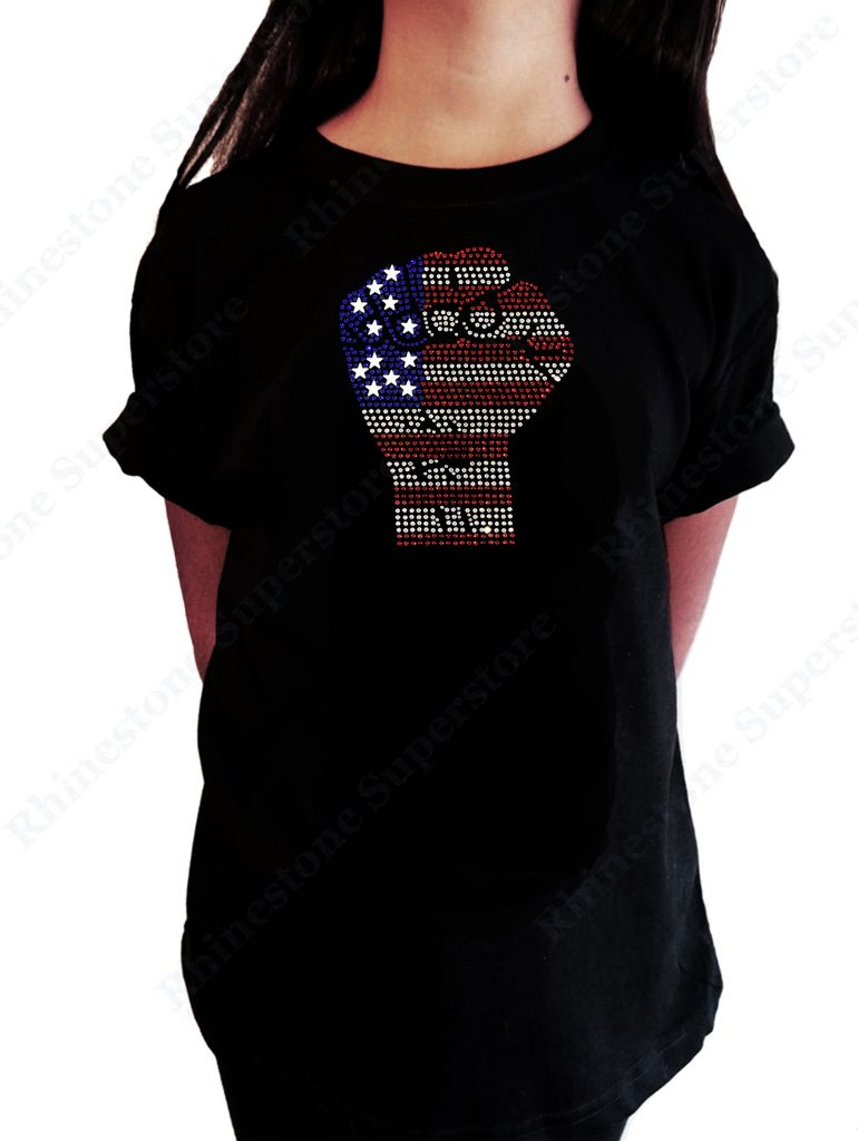 Progressive 4th of July tees for kids and adults: American flag rhinestone 4th of July tee | Rhinestone Superstore