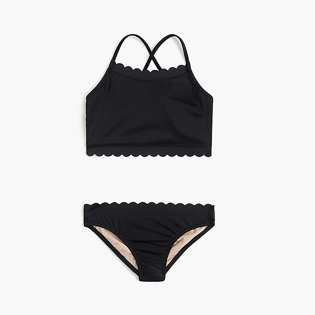 Girls black scalloped swimsuit two-piece from J Crew