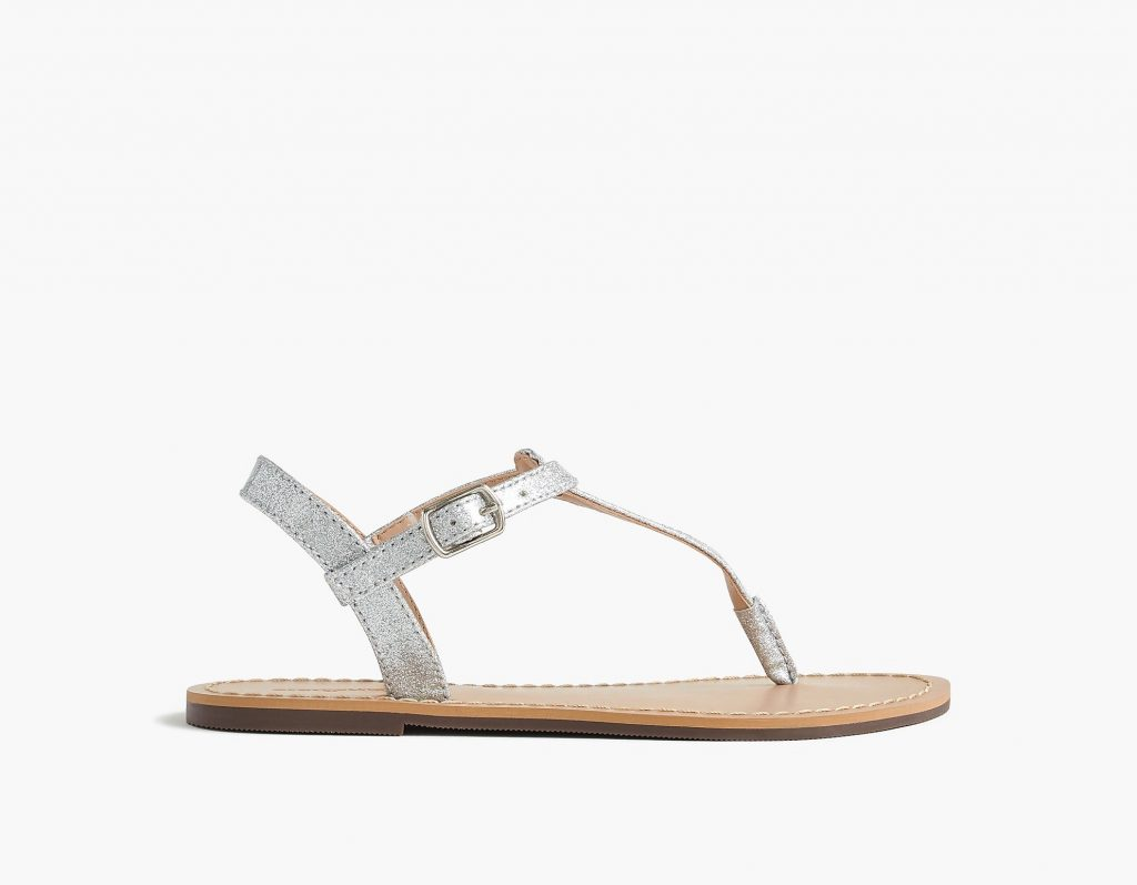 J Crew Girls Glitter T-Strap Sandals on sale