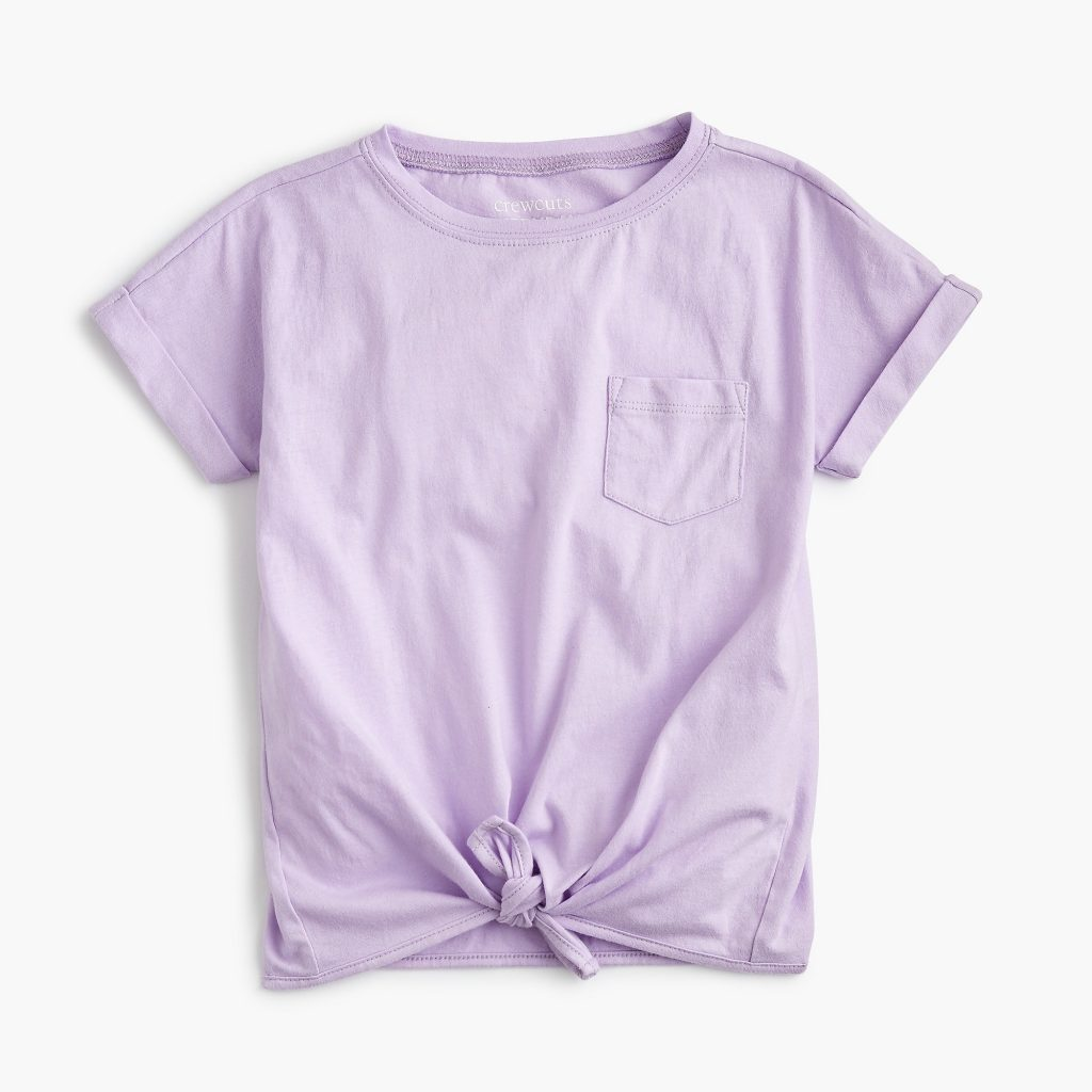 J Crew Girls Tie Front Tee in 6 colors on sale