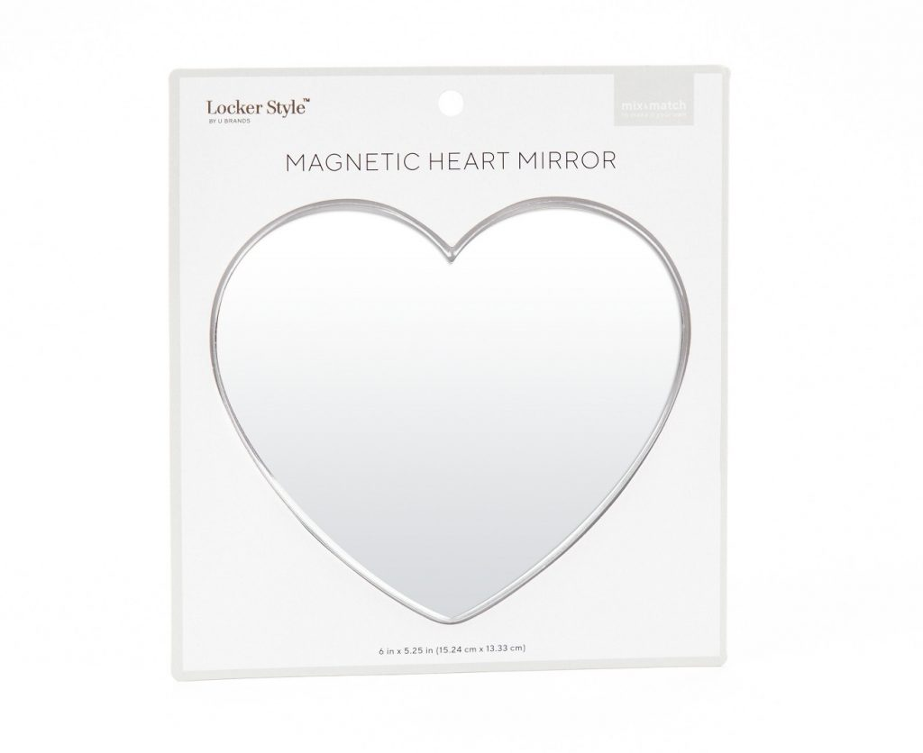 Heart-shaped locker mirror: Fun school supplies and accessories under $10