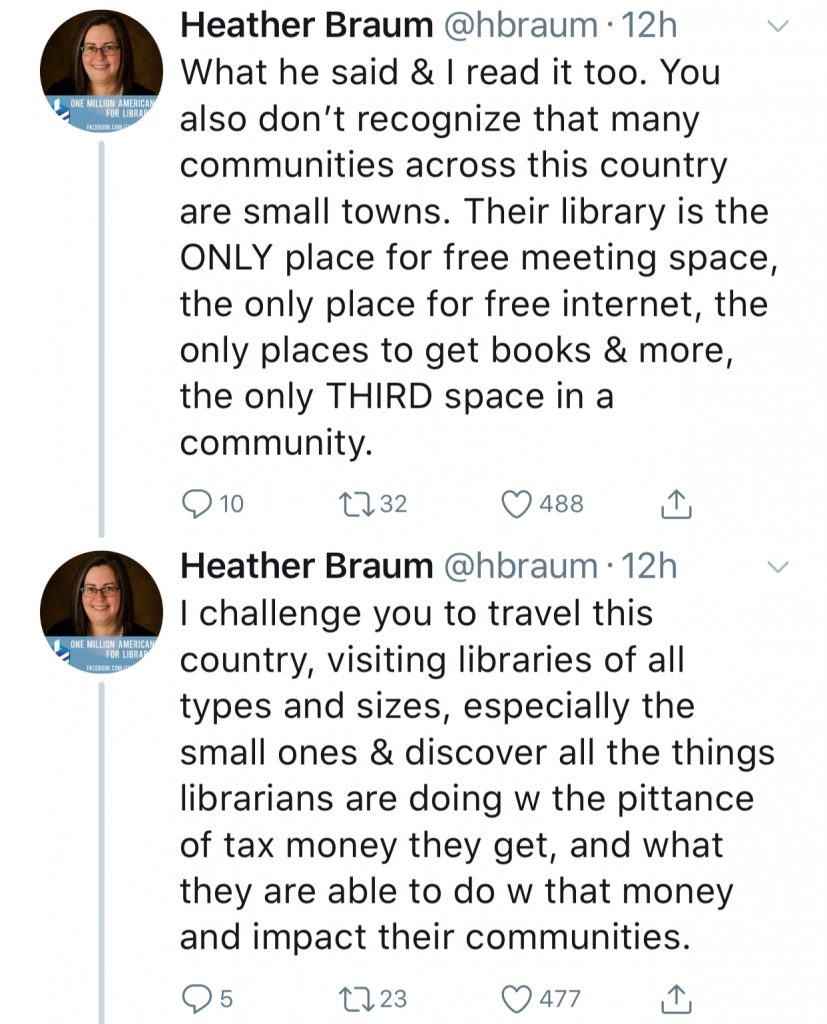 Why libraries should not be converted into for-profit bookstores: Tweets by Heather Braum