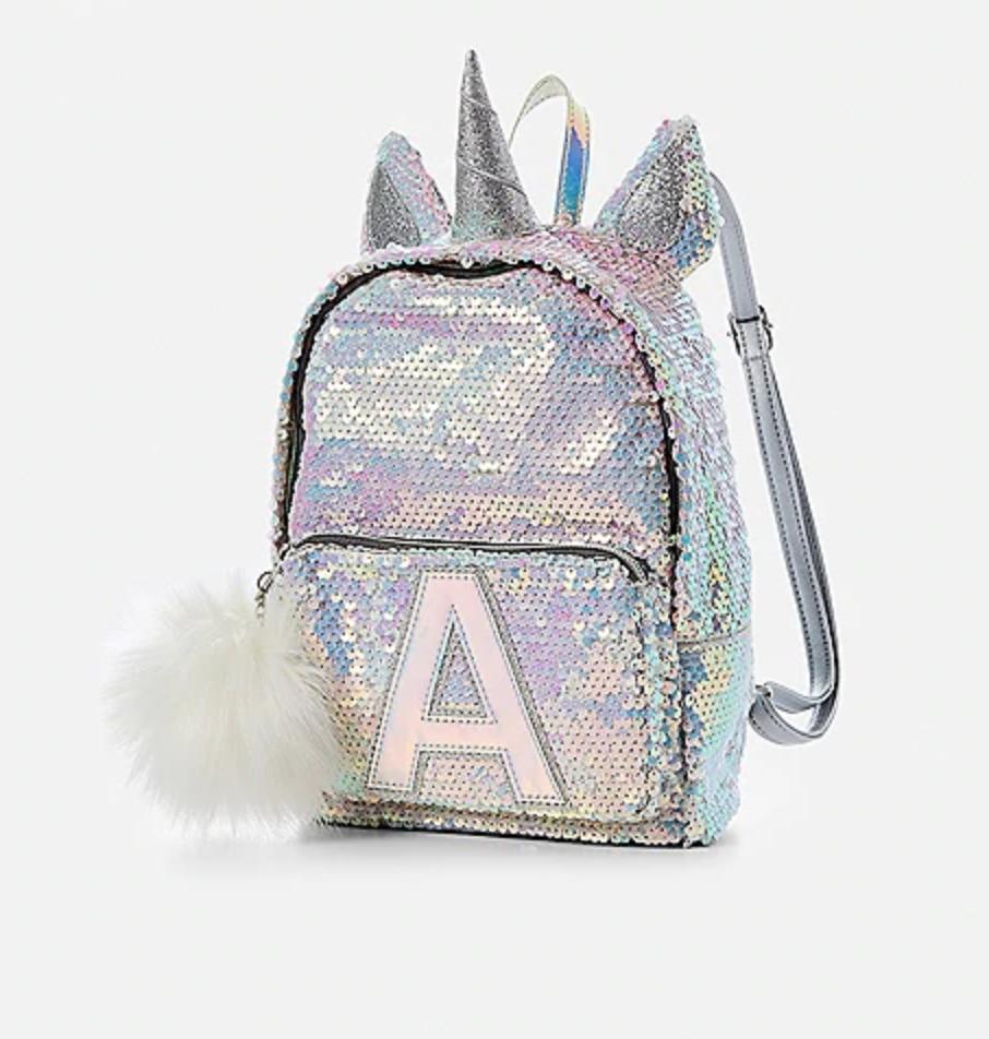 cool backpacks for preschool, kindergarten and little kids: Initial Unicorn Flip Sequin Backpack