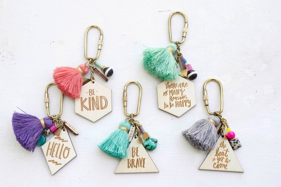 Hand-painted inspirational quote key chain pairs to decorate backpacks for back-to-school | JillMakes on Etsy