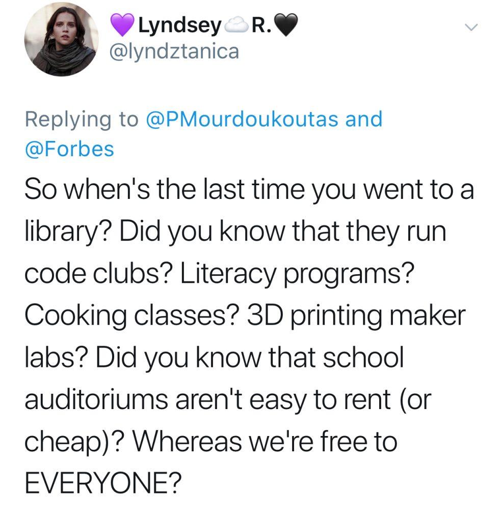 In defense of libraries: tweet by lyndztanica | CoolMomPicks.com