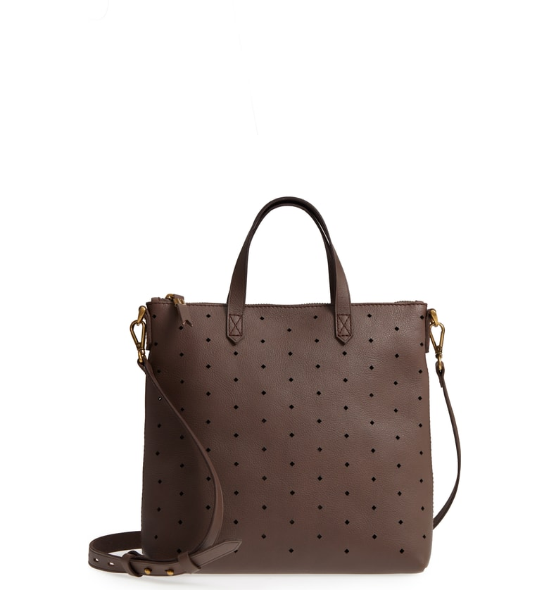 Fall handbag on sale at Nordstrom: Madewell Perforated Leather Crossbody in Chocolate Brown