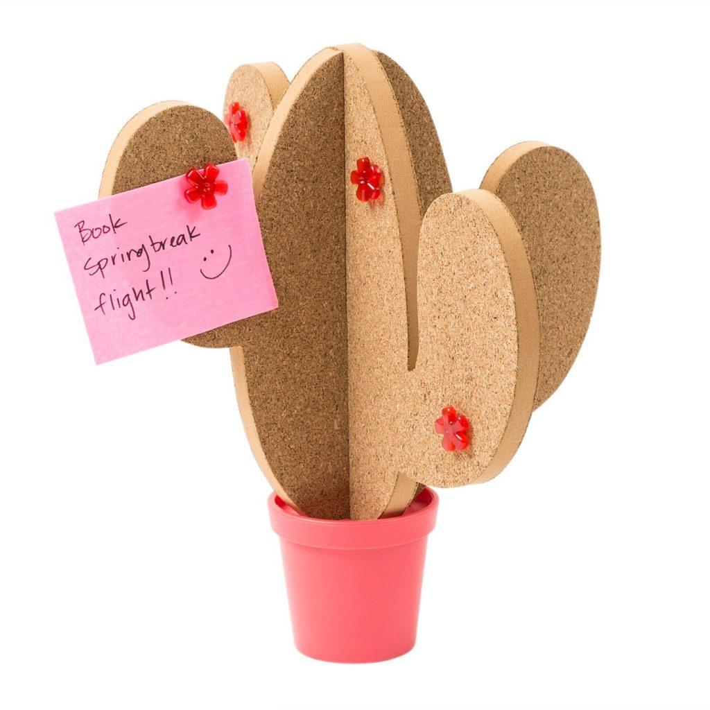 Mini desktop cactus corkboard: Fun school supplies and accessories under $10