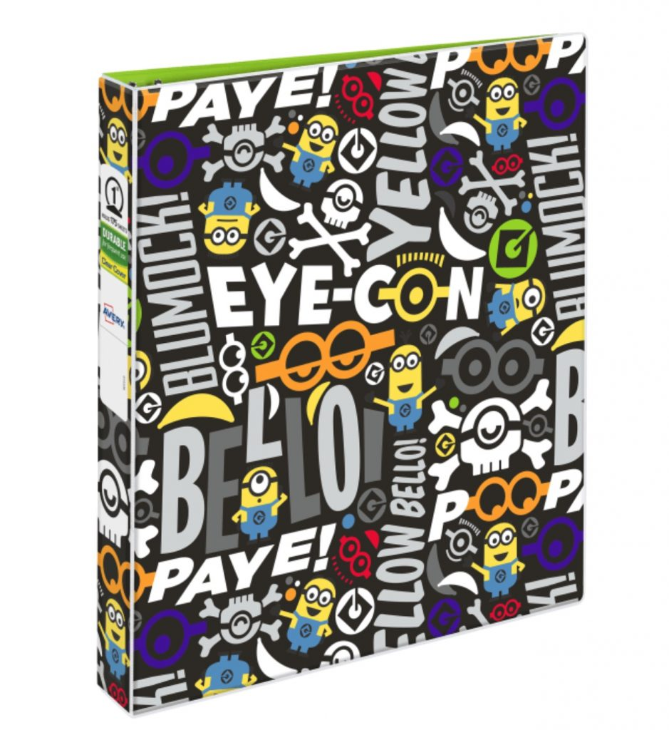 Fun school supplies under $10: Minions Eye-Con binder by Avery (sponsor)