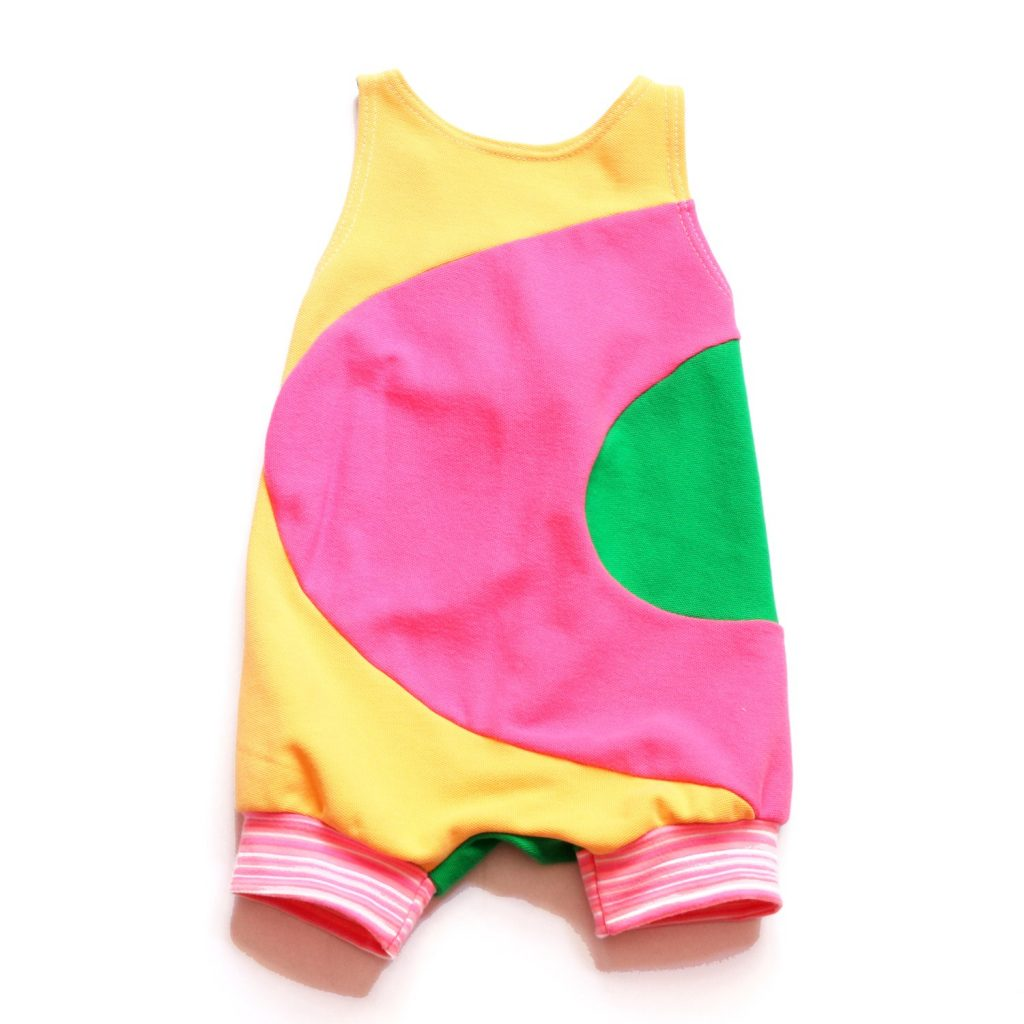 Mod colorblock romper for baby girls, handmade by Courtney Courtney