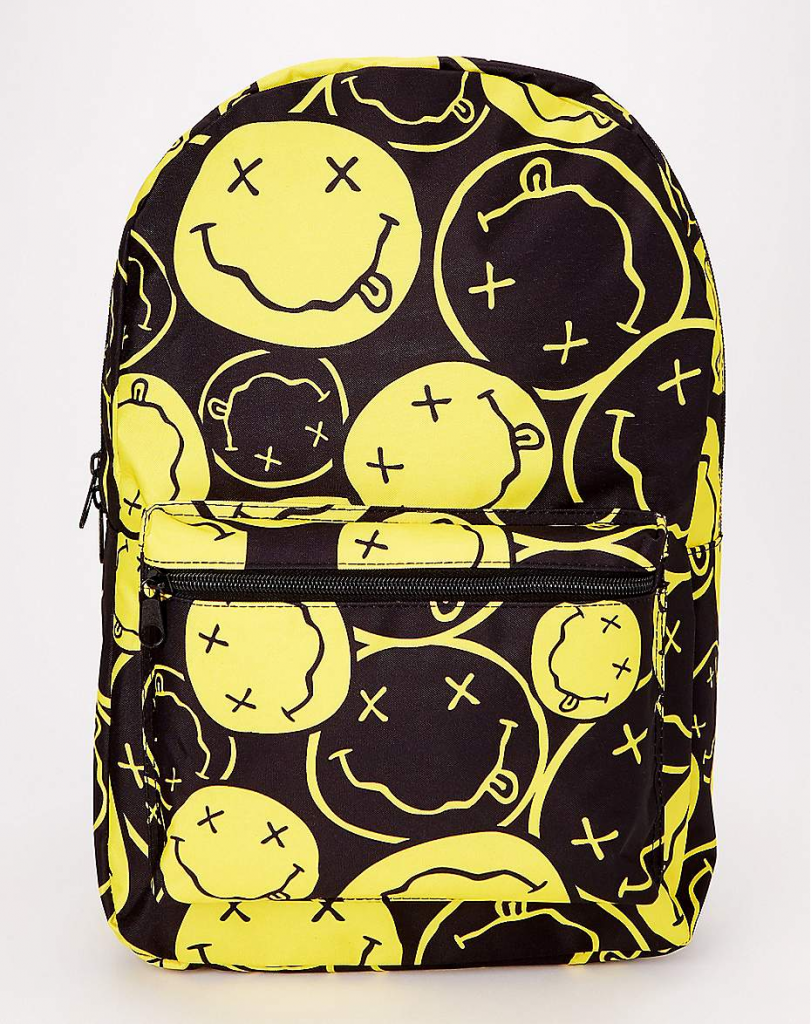 Cool backpacks for tweens and teens: Nirvana happy face backpack