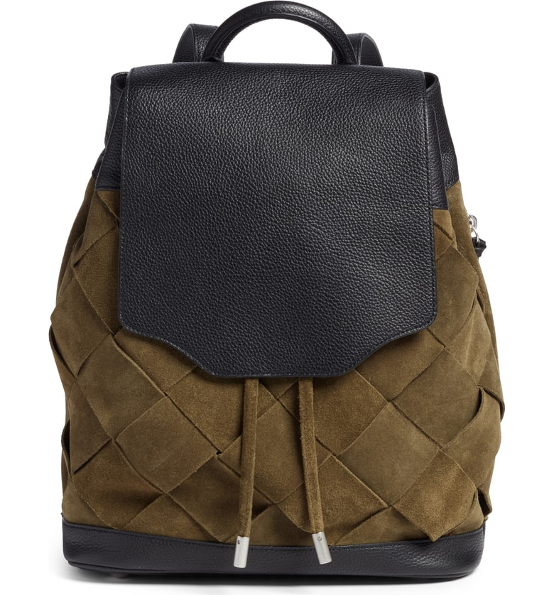 Fall handbags on sale at Nordstrom: Rag & Bone Pilot Suede Leather Backpack in olive and black. Oof.