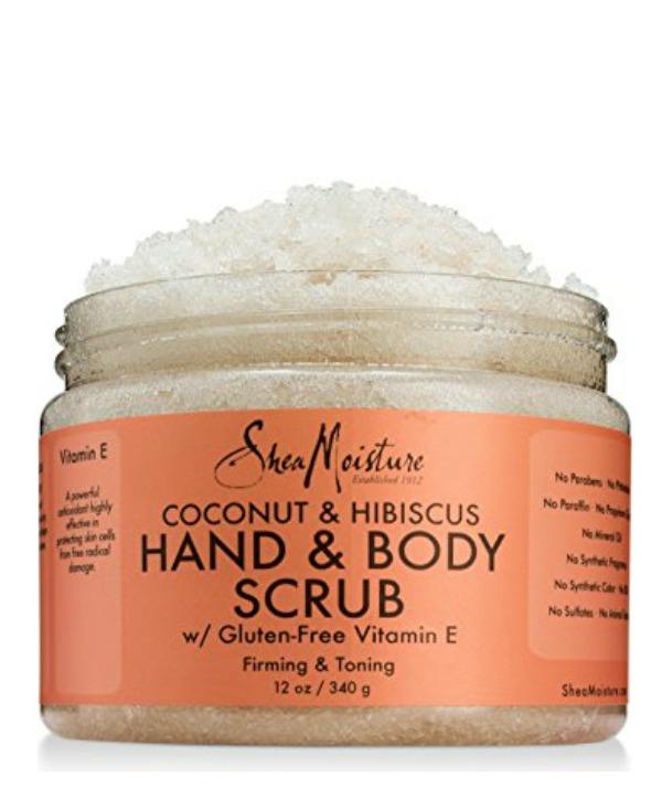 Best moisturizing + conditioning drugstore products for summer skin: Shea Moisture's Coconut and Hibiscus Scrub