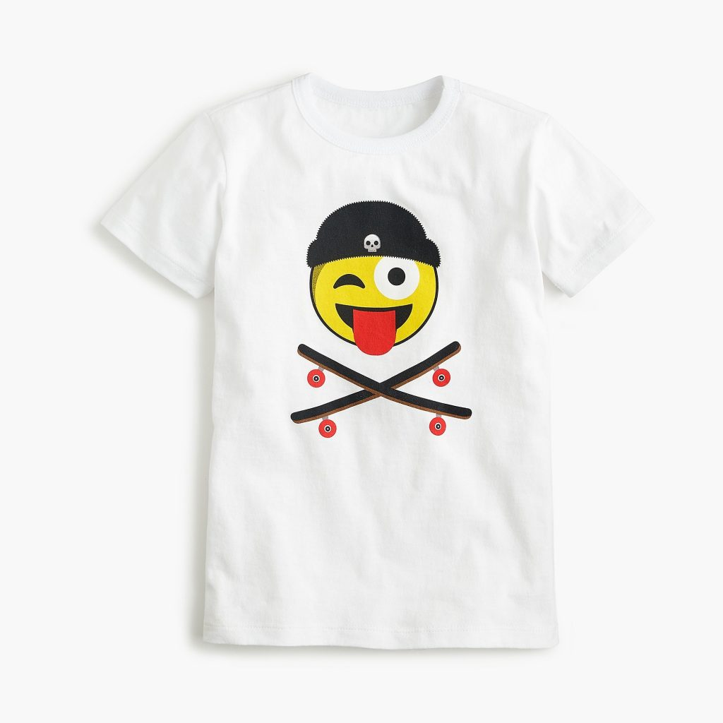 J Crew Kids Skateboard Emoji Tee on sale